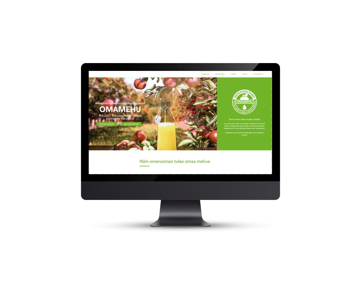 Omamehu verkkosivulanseeraus, onepager webdesign